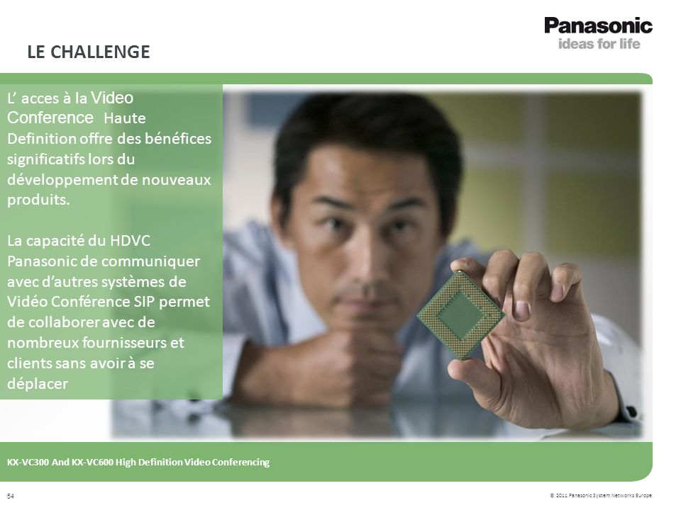 © 2011 Panasonic System Networks Europe. KX-VC300 And KX-VC600 High Definition Video Conferencing 54 LE CHALLENGE L acces à la Video Conference Haute