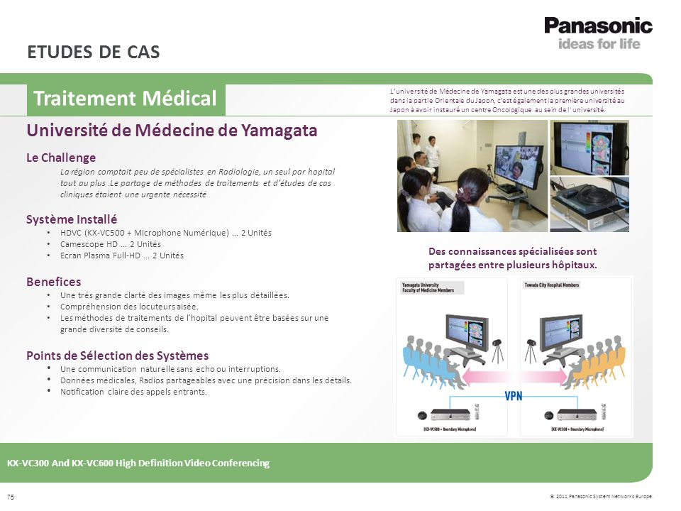 © 2011 Panasonic System Networks Europe. KX-VC300 And KX-VC600 High Definition Video Conferencing 75 ETUDES DE CAS Le Challenge La région comptait peu