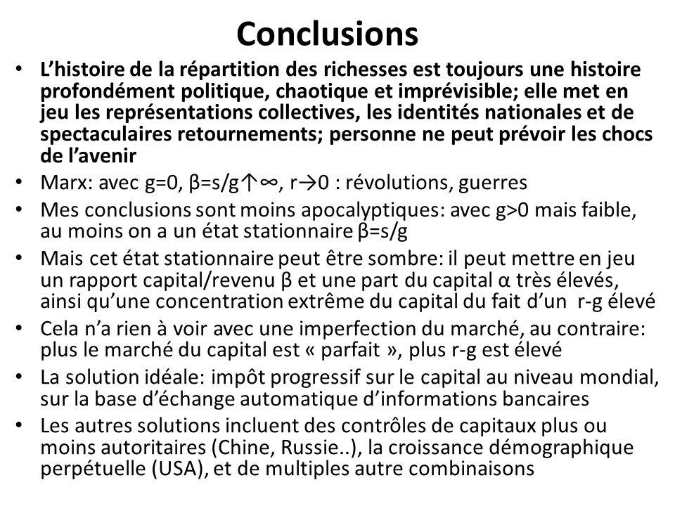Conclusions Lhistoire de la répartition des richesses est toujours une histoire profondément politique, chaotique et imprévisible; elle met en jeu les