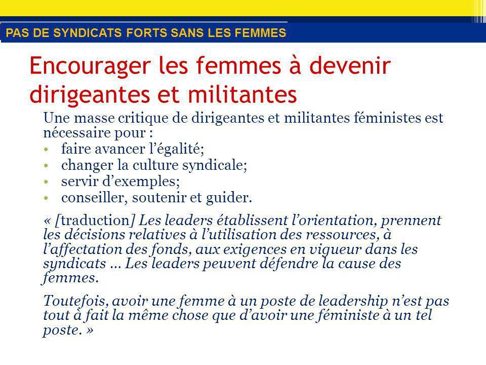 Encourager les femmes à devenir dirigeantes et militantes Une masse critique de dirigeantes et militantes féministes est nécessaire pour : faire avancer légalité; changer la culture syndicale; servir dexemples; conseiller, soutenir et guider.