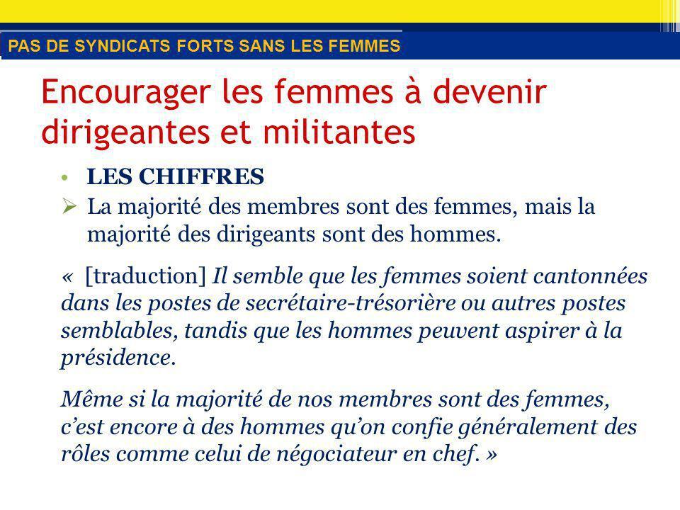 Encourager les femmes à devenir dirigeantes et militantes LES CHIFFRES La majorité des membres sont des femmes, mais la majorité des dirigeants sont des hommes.