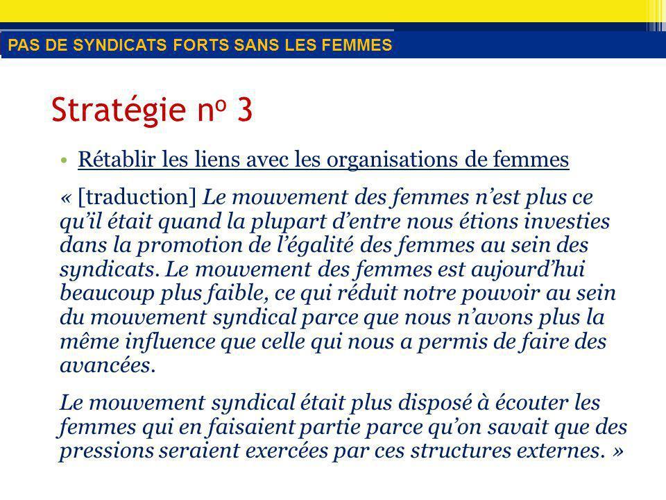 Stratégie n o 3 Rétablir les liens avec les organisations de femmes « [traduction] Le mouvement des femmes nest plus ce quil était quand la plupart dentre nous étions investies dans la promotion de légalité des femmes au sein des syndicats.