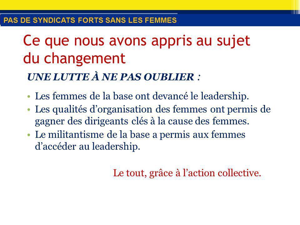 Stratégie n o 3 Établir des liens avec les principales activités « [traduction] Nous avons tendance à exercer des pressions en faveur de légalité des femmes plutôt que de négocier des mesures pour y parvenir.
