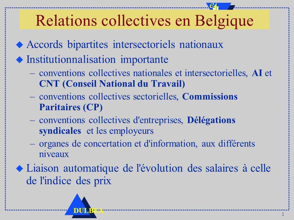 1 DULBEA Relations collectives en Belgique u Accords bipartites intersectoriels nationaux u Institutionnalisation importante –conventions collectives