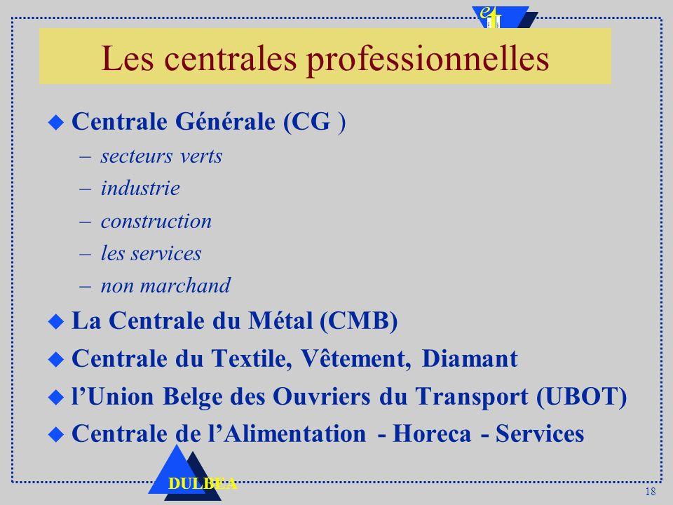 18 DULBEA Les centrales professionnelles u Centrale Générale (CG ) –secteurs verts –industrie –construction –les services –non marchand u La Centrale