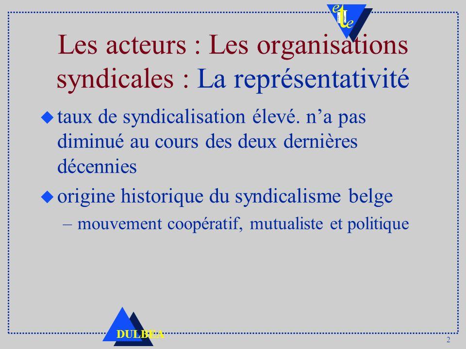 2 DULBEA Les acteurs : Les organisations syndicales : La représentativité u taux de syndicalisation élevé. na pas diminué au cours des deux dernières