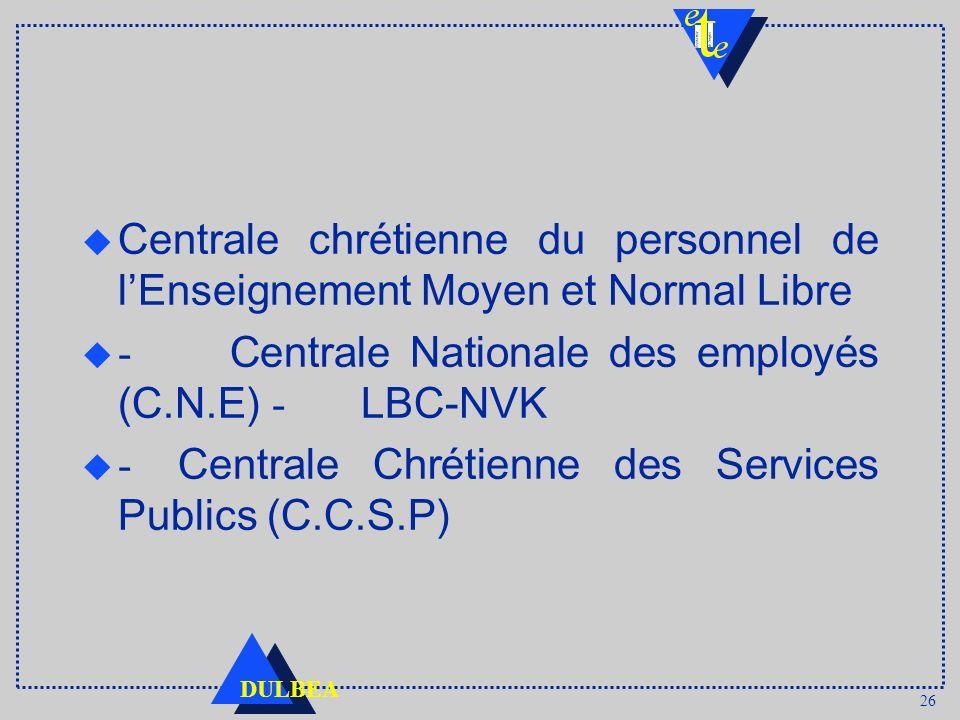 26 DULBEA u Centrale chrétienne du personnel de lEnseignement Moyen et Normal Libre - Centrale Nationale des employés (C.N.E) - LBC-NVK - Centrale Chr