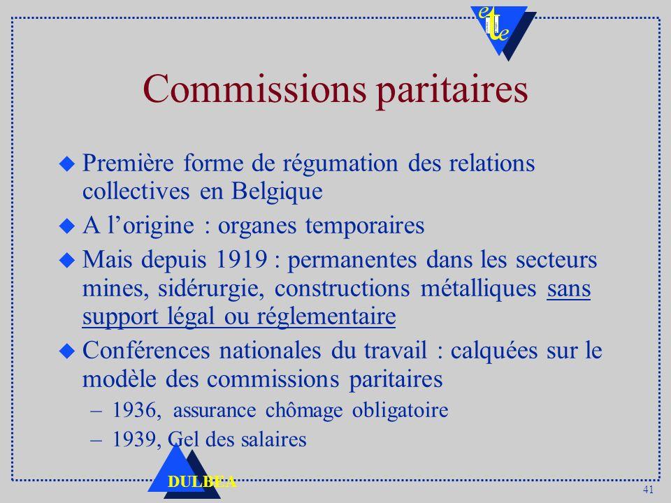 41 DULBEA Commissions paritaires u Première forme de régumation des relations collectives en Belgique u A lorigine : organes temporaires u Mais depuis