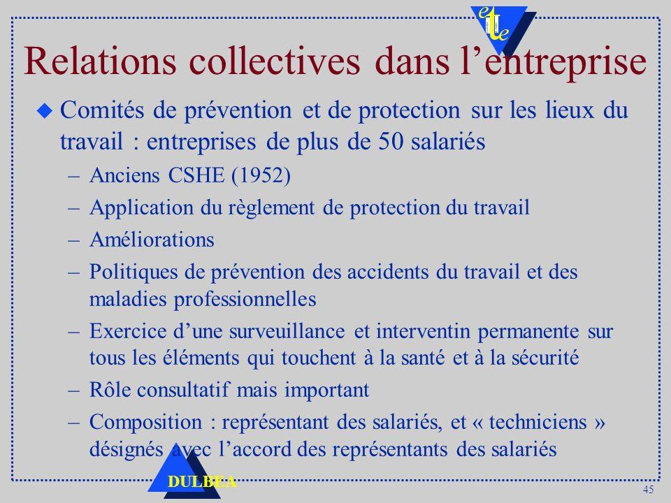 45 DULBEA Relations collectives dans lentreprise u Comités de prévention et de protection sur les lieux du travail : entreprises de plus de 50 salarié