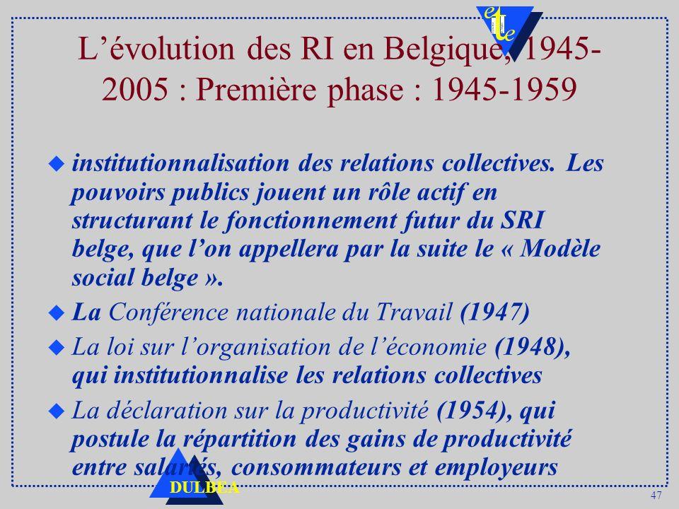 47 DULBEA Lévolution des RI en Belgique, 1945- 2005 : Première phase : 1945-1959 u institutionnalisation des relations collectives. Les pouvoirs publi
