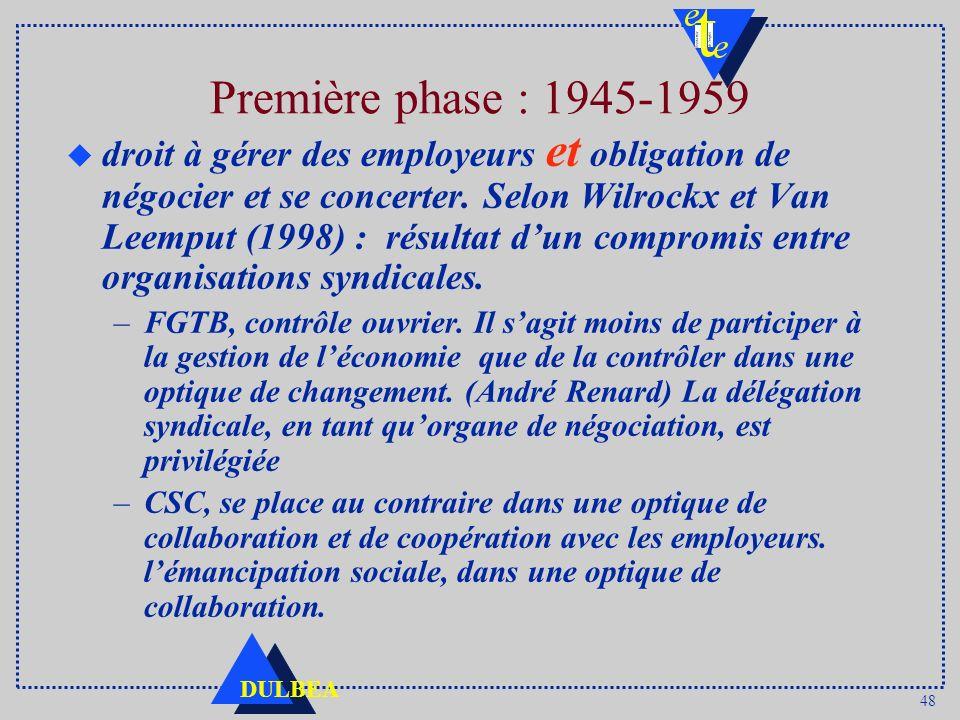 48 DULBEA Première phase : 1945-1959 u droit à gérer des employeurs et obligation de négocier et se concerter. Selon Wilrockx et Van Leemput (1998) :