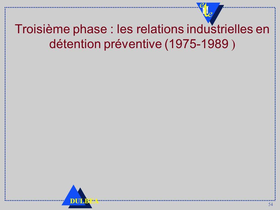 54 DULBEA Troisième phase : les relations industrielles en détention préventive (1975-1989 )