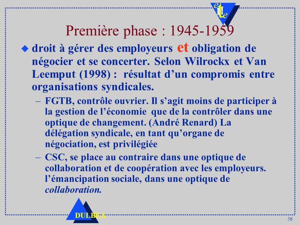 56 DULBEA Première phase : 1945-1959 u droit à gérer des employeurs et obligation de négocier et se concerter. Selon Wilrockx et Van Leemput (1998) :