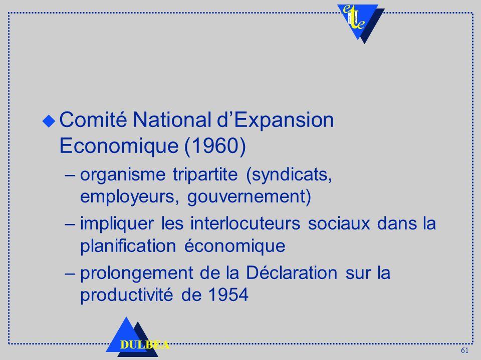 61 DULBEA u Comité National dExpansion Economique (1960) –organisme tripartite (syndicats, employeurs, gouvernement) –impliquer les interlocuteurs soc