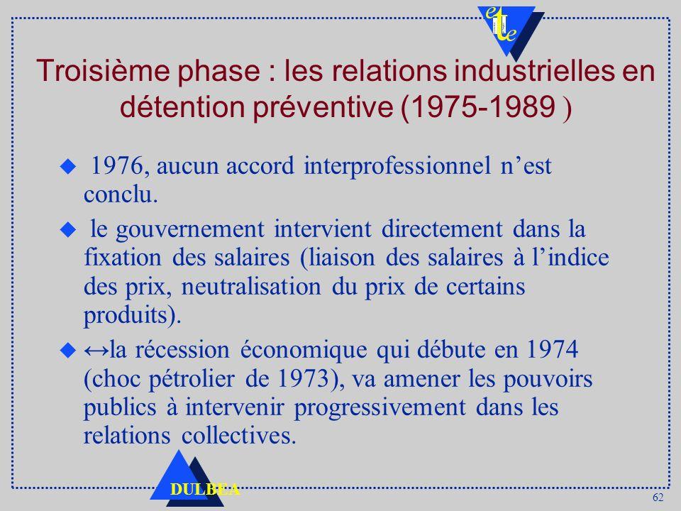 62 DULBEA Troisième phase : les relations industrielles en détention préventive (1975-1989 ) u 1976, aucun accord interprofessionnel nest conclu. u le