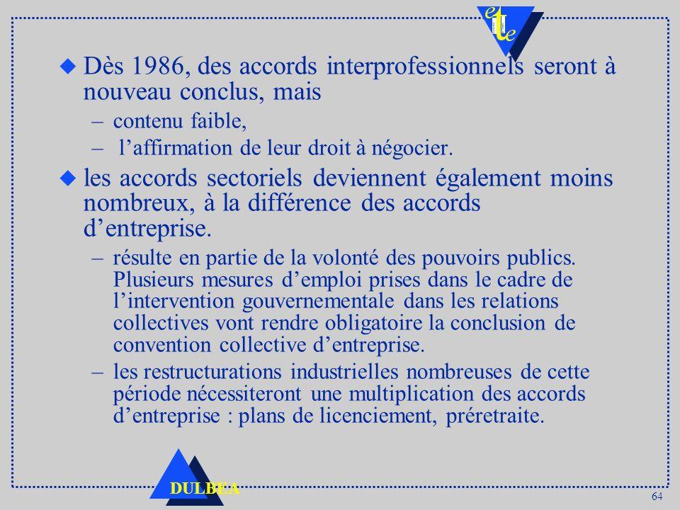 64 DULBEA u Dès 1986, des accords interprofessionnels seront à nouveau conclus, mais –contenu faible, – laffirmation de leur droit à négocier. u les a