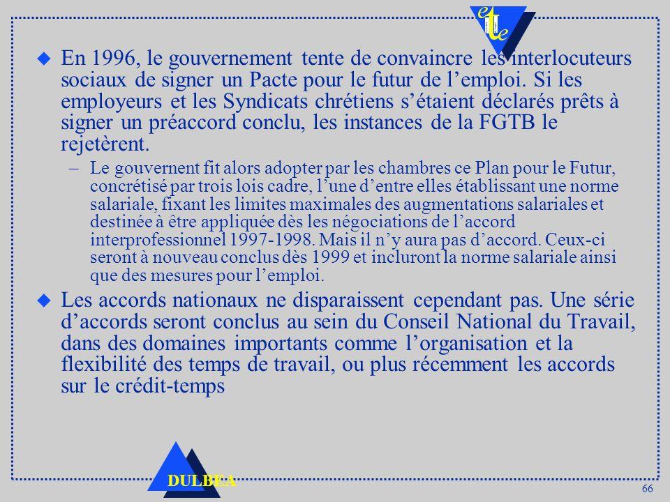 66 DULBEA u En 1996, le gouvernement tente de convaincre les interlocuteurs sociaux de signer un Pacte pour le futur de lemploi. Si les employeurs et