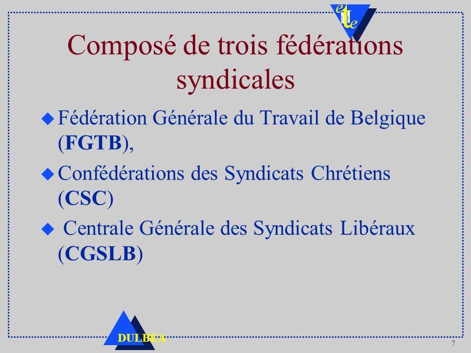 7 DULBEA Composé de trois fédérations syndicales u Fédération Générale du Travail de Belgique (FGTB), u Confédérations des Syndicats Chrétiens (CSC) u
