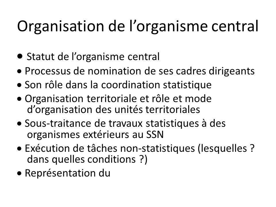 Organisation de lorganisme central Statut de lorganisme central Processus de nomination de ses cadres dirigeants Son rôle dans la coordination statist