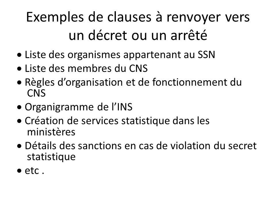 Exemples de clauses à renvoyer vers un décret ou un arrêté Liste des organismes appartenant au SSN Liste des membres du CNS Règles dorganisation et de