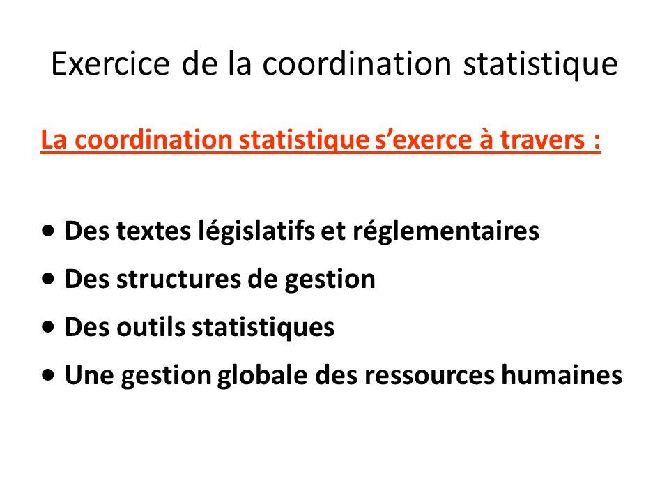 Exercice de la coordination statistique La coordination statistique sexerce à travers : Des textes législatifs et réglementaires Des structures de ges