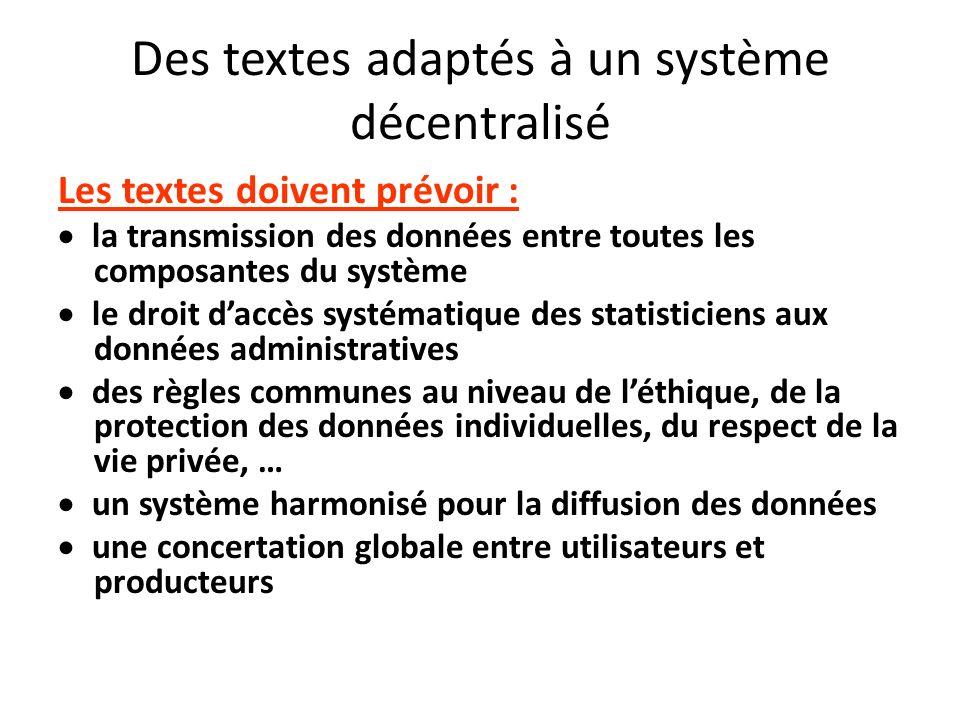 Des textes adaptés à un système décentralisé Les textes doivent prévoir : la transmission des données entre toutes les composantes du système le droit