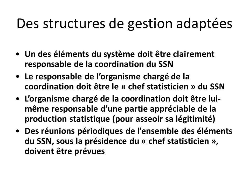 Des structures de gestion adaptées Un des éléments du système doit être clairement responsable de la coordination du SSN Le responsable de lorganisme