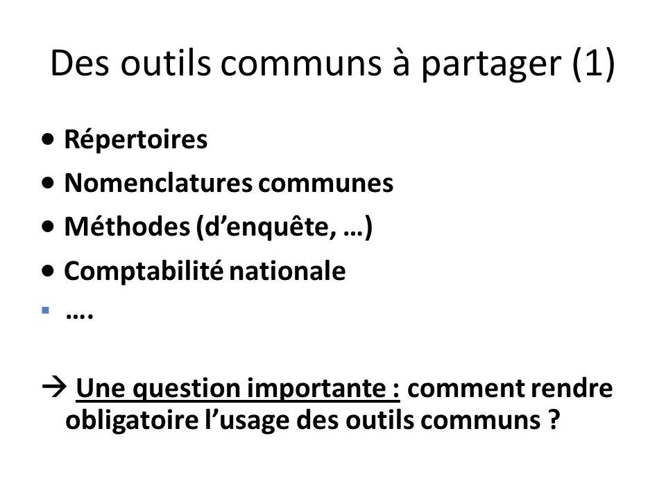 Des outils communs à partager (1) Répertoires Nomenclatures communes Méthodes (denquête, …) Comptabilité nationale …. Une question importante : commen