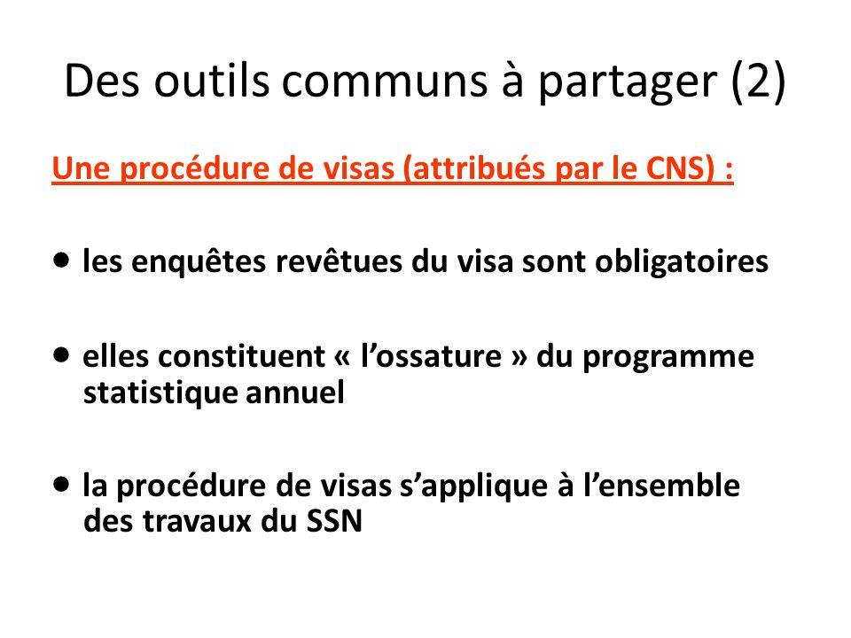 Des outils communs à partager (2) Une procédure de visas (attribués par le CNS) : les enquêtes revêtues du visa sont obligatoires elles constituent «