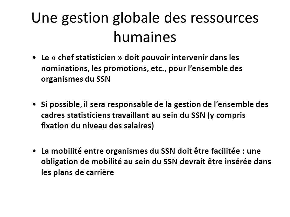 Une gestion globale des ressources humaines Le « chef statisticien » doit pouvoir intervenir dans les nominations, les promotions, etc., pour lensembl