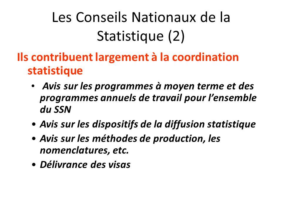Les Conseils Nationaux de la Statistique (2) Ils contribuent largement à la coordination statistique Avis sur les programmes à moyen terme et des prog