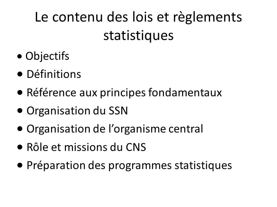 Le contenu des lois et règlements statistiques Objectifs Définitions Référence aux principes fondamentaux Organisation du SSN Organisation de lorganis