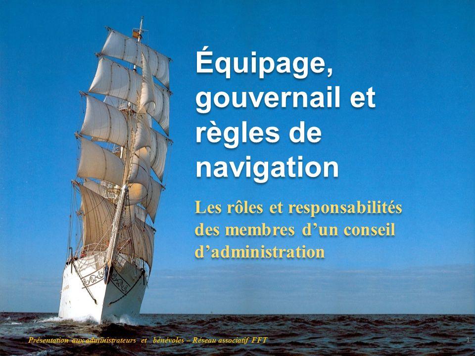Équipage, gouvernail et règles de navigation Les rôles et responsabilités des membres dun conseil dadministration 1 Présentation aux administrateurs e