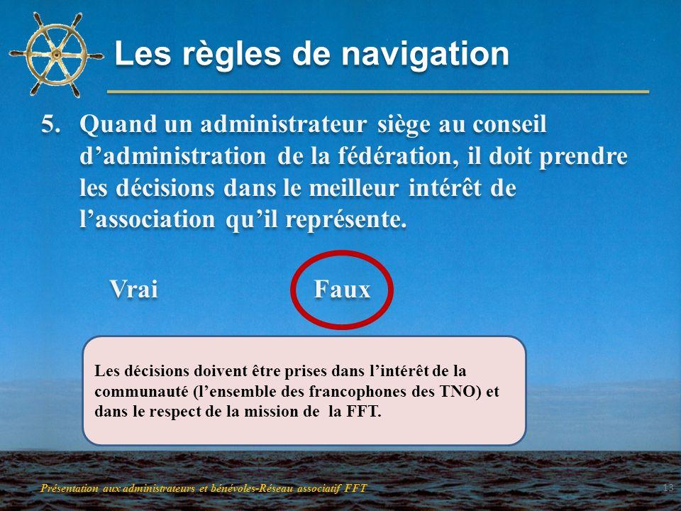Les règles de navigation 5.Quand un administrateur siège au conseil dadministration de la fédération, il doit prendre les décisions dans le meilleur i
