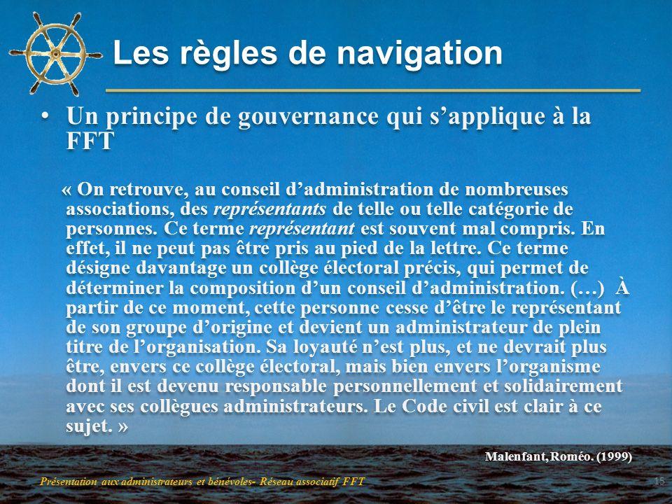 Les règles de navigation Un principe de gouvernance qui sapplique à la FFT « On retrouve, au conseil dadministration de nombreuses associations, des r