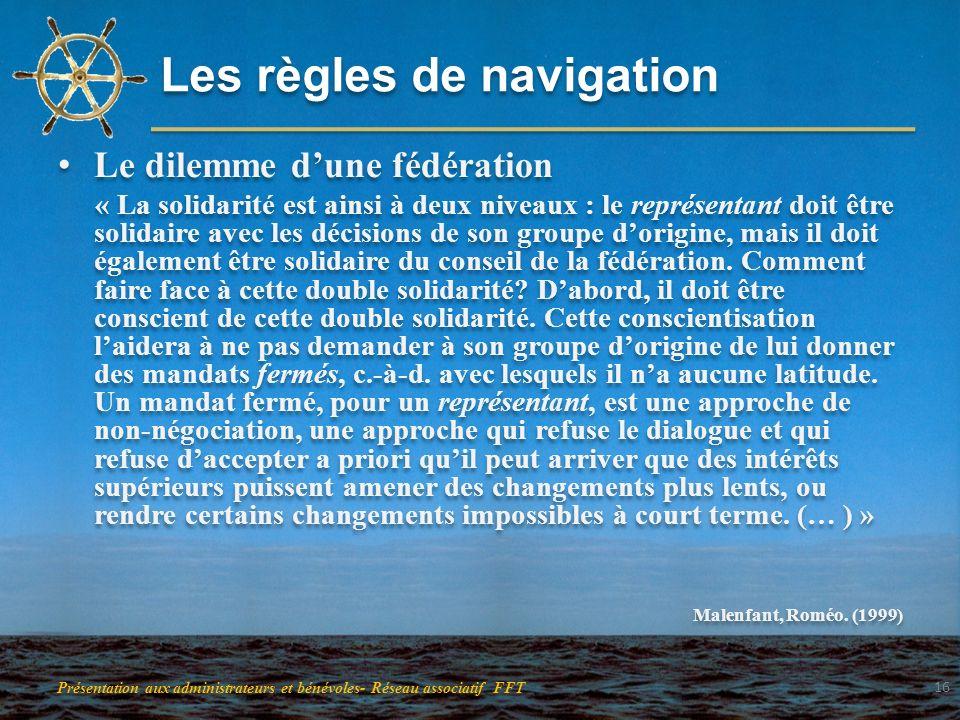 Les règles de navigation Le dilemme dune fédération « La solidarité est ainsi à deux niveaux : le représentant doit être solidaire avec les décisions