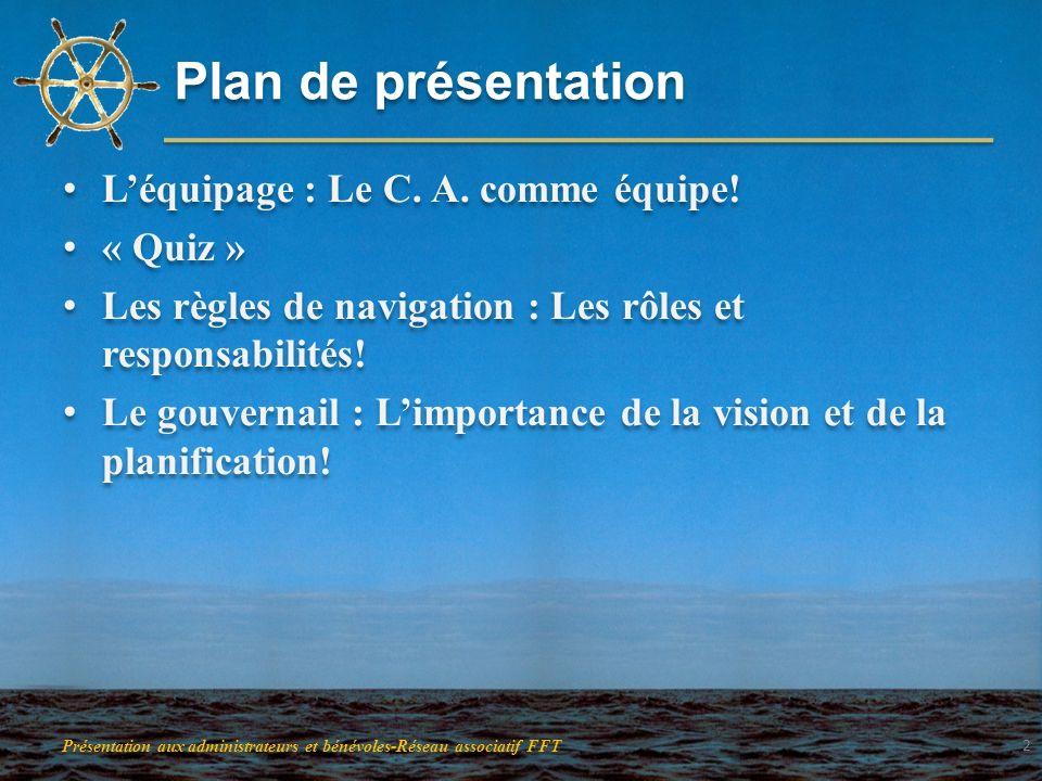 Plan de présentation Léquipage : Le C. A. comme équipe! « Quiz » Les règles de navigation : Les rôles et responsabilités! Le gouvernail : Limportance
