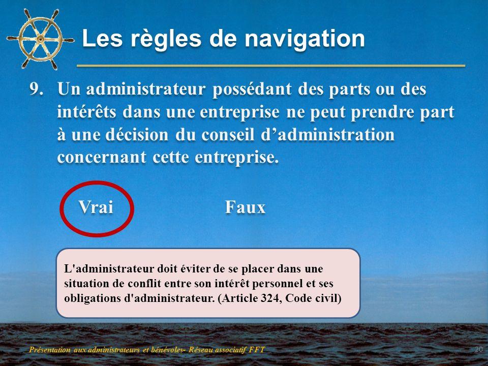 Les règles de navigation 9.Un administrateur possédant des parts ou des intérêts dans une entreprise ne peut prendre part à une décision du conseil da