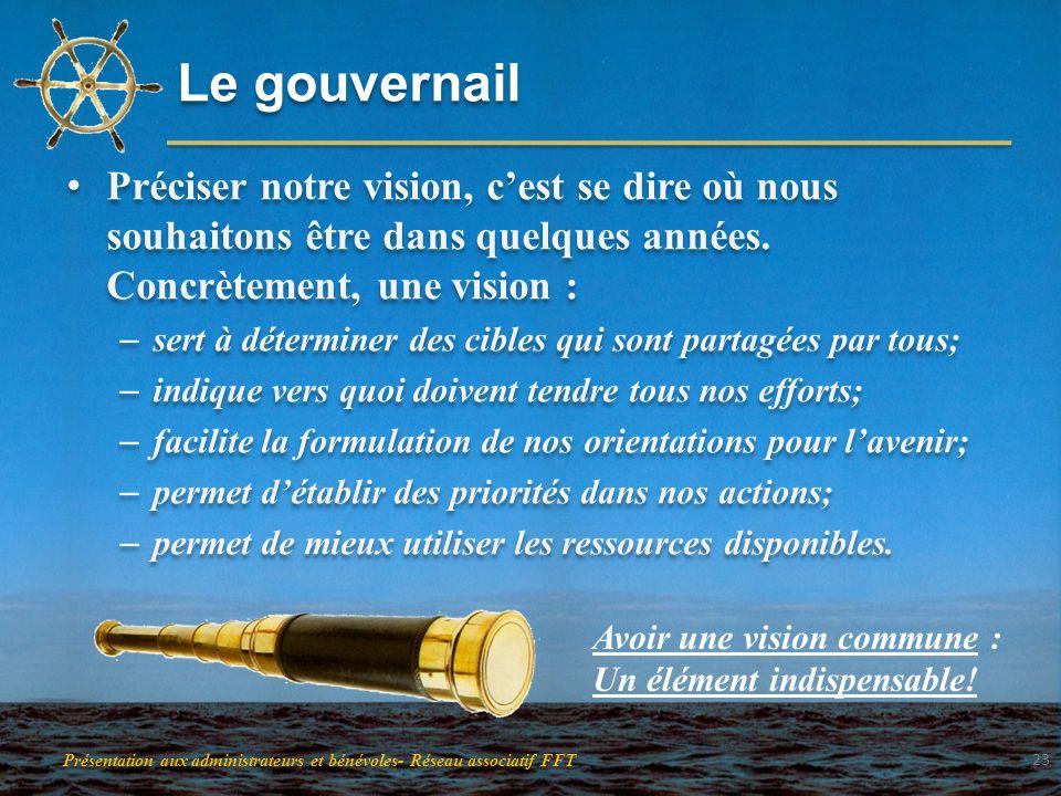 Le gouvernail Préciser notre vision, cest se dire où nous souhaitons être dans quelques années. Concrètement, une vision : – sert à déterminer des cib