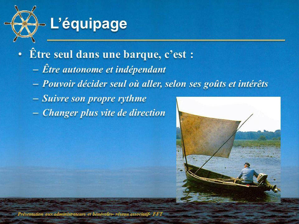 Léquipage Être seul dans une barque, cest : – Être autonome et indépendant – Pouvoir décider seul où aller, selon ses goûts et intérêts – Suivre son p