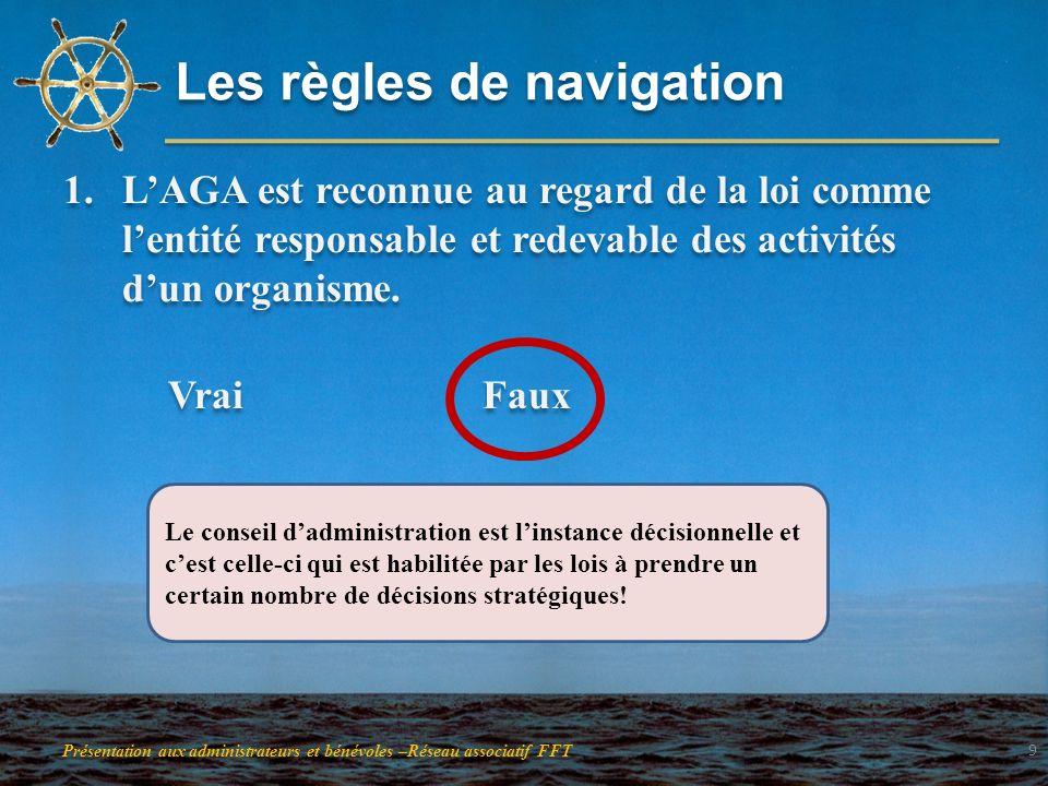 Les règles de navigation 1.LAGA est reconnue au regard de la loi comme lentité responsable et redevable des activités dun organisme. Vrai Faux 1.LAGA