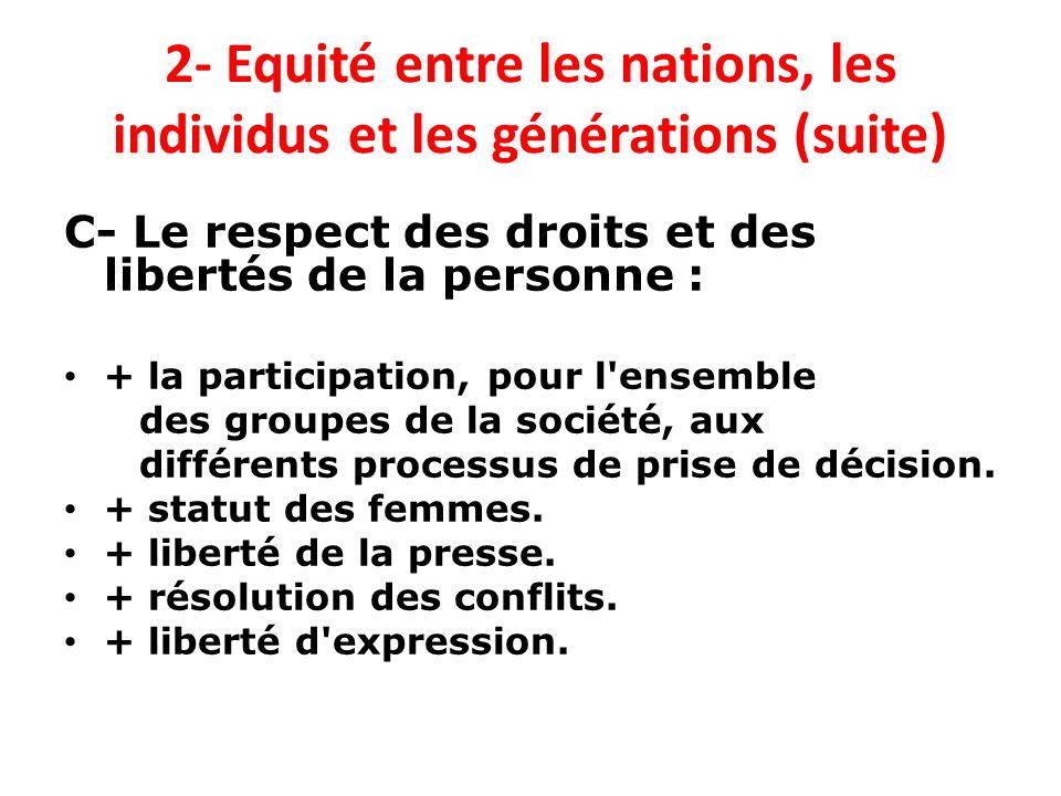 2- Equité entre les nations, les individus et les générations (suite) C- Le respect des droits et des libertés de la personne : + la participation, po