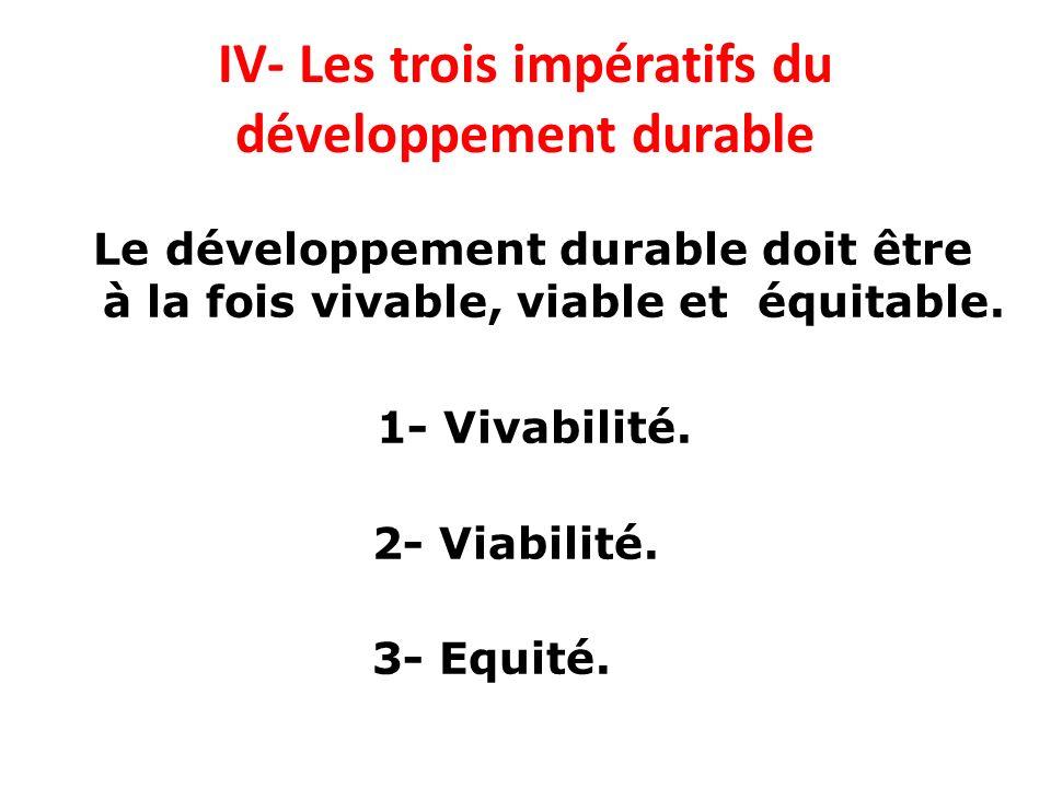IV- Les trois impératifs du développement durable Le développement durable doit être à la fois vivable, viable et équitable. 1- Vivabilité. 2- Viabili