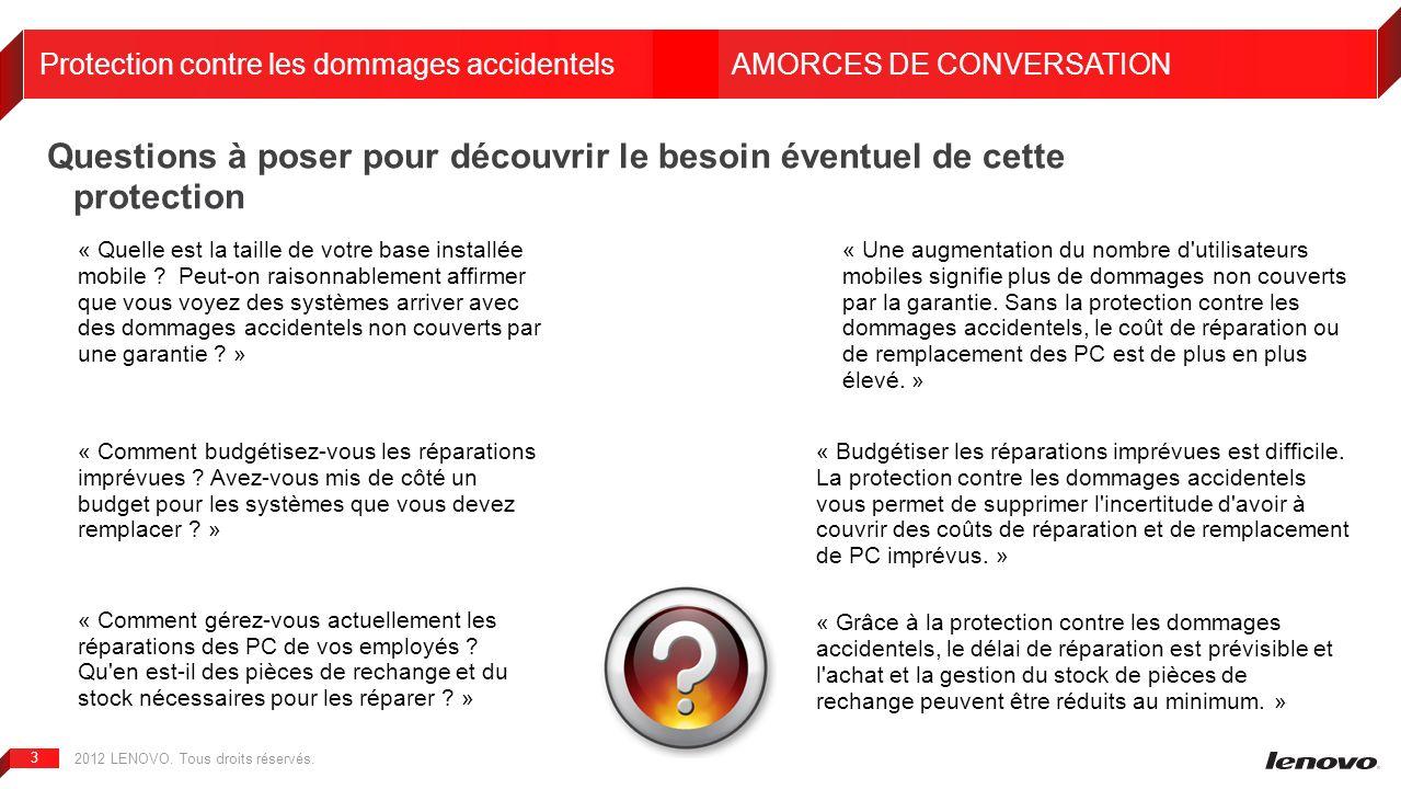 2012 LENOVO. Tous droits réservés. 3 Questions à poser pour découvrir le besoin éventuel de cette protection Protection contre les dommages accidentel