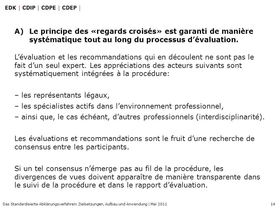 14 Das Standardisierte Abklärungsverfahren: Zielsetzungen, Aufbau und Anwendung | Mai 2011 A)Le principe des «regards croisés» est garanti de manière