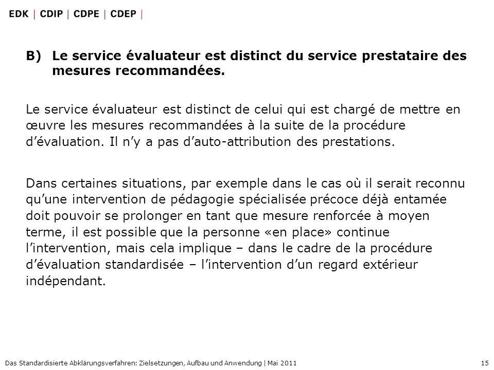 15 Das Standardisierte Abklärungsverfahren: Zielsetzungen, Aufbau und Anwendung | Mai 2011 B)Le service évaluateur est distinct du service prestataire