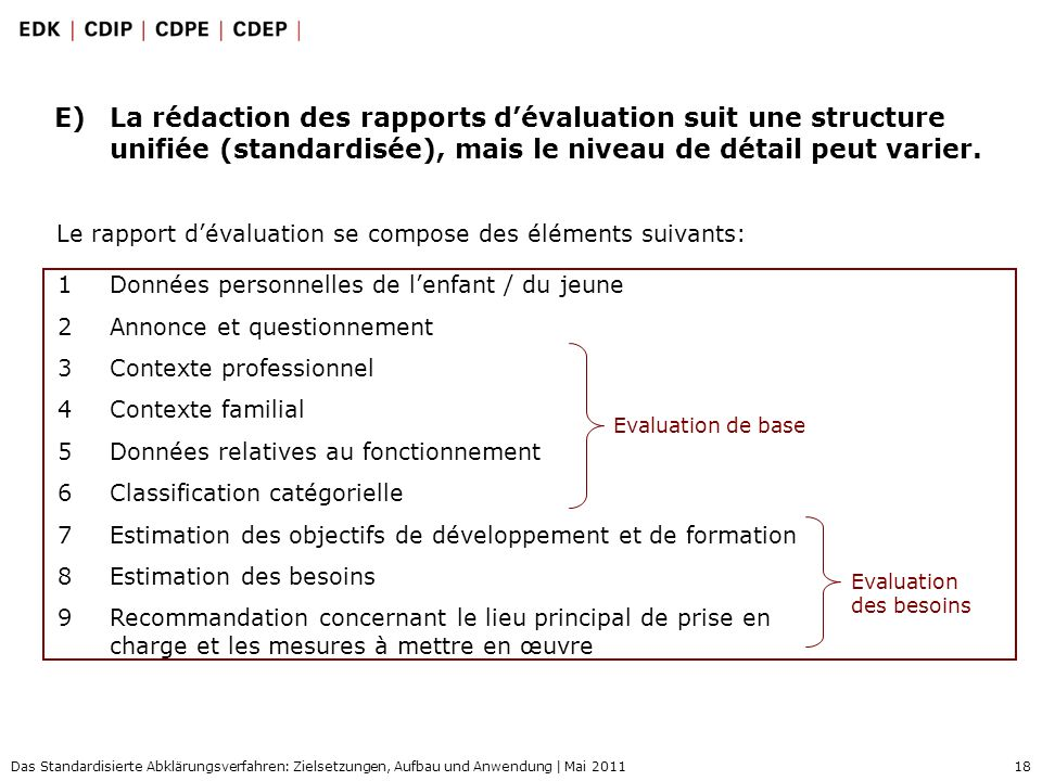 18 Das Standardisierte Abklärungsverfahren: Zielsetzungen, Aufbau und Anwendung | Mai 2011 E)La rédaction des rapports dévaluation suit une structure