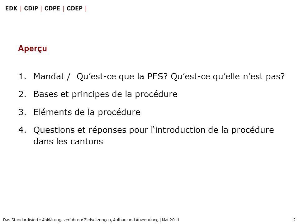 2 Das Standardisierte Abklärungsverfahren: Zielsetzungen, Aufbau und Anwendung | Mai 2011 1.Mandat / Quest-ce que la PES? Quest-ce quelle nest pas? 2.