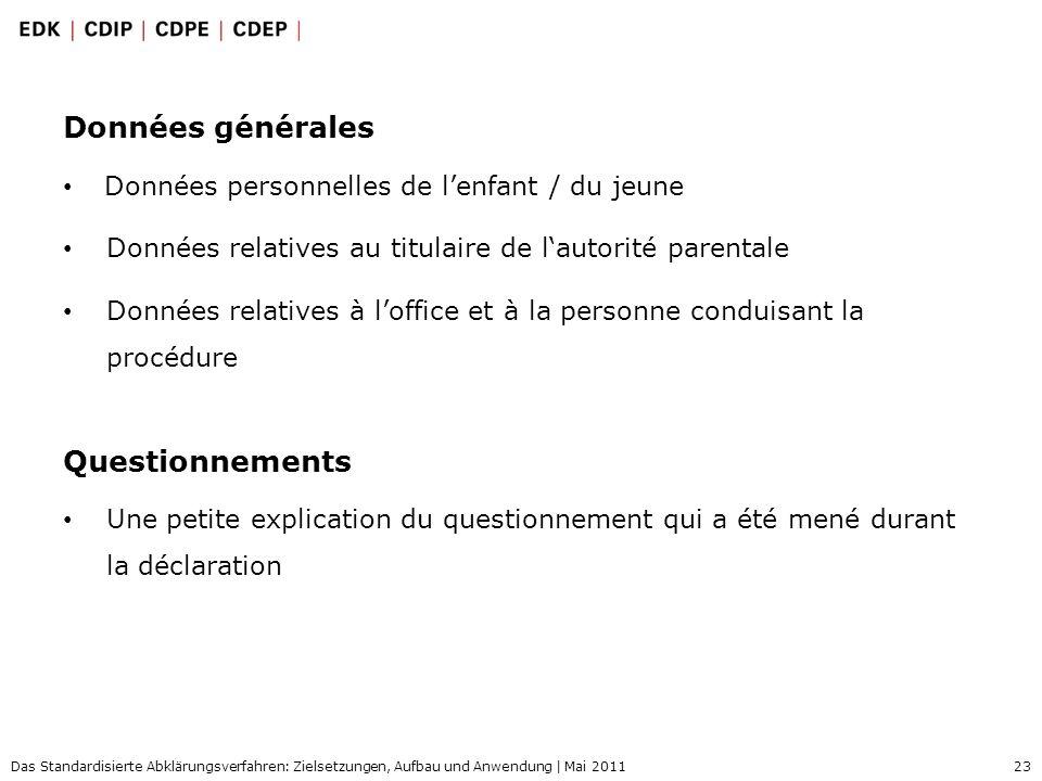 23 Das Standardisierte Abklärungsverfahren: Zielsetzungen, Aufbau und Anwendung | Mai 2011 Données générales Données personnelles de lenfant / du jeun