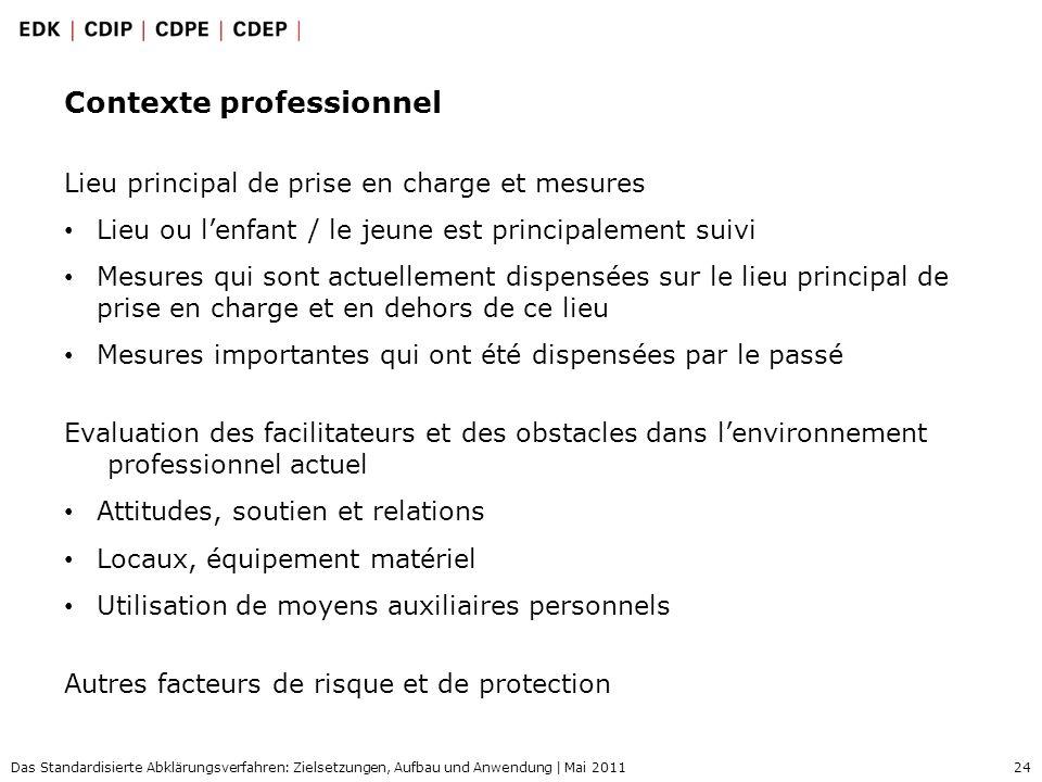 24 Das Standardisierte Abklärungsverfahren: Zielsetzungen, Aufbau und Anwendung | Mai 2011 Contexte professionnel Lieu principal de prise en charge et